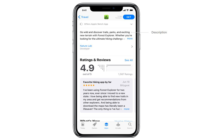 An app's description section in the iOS App Store
