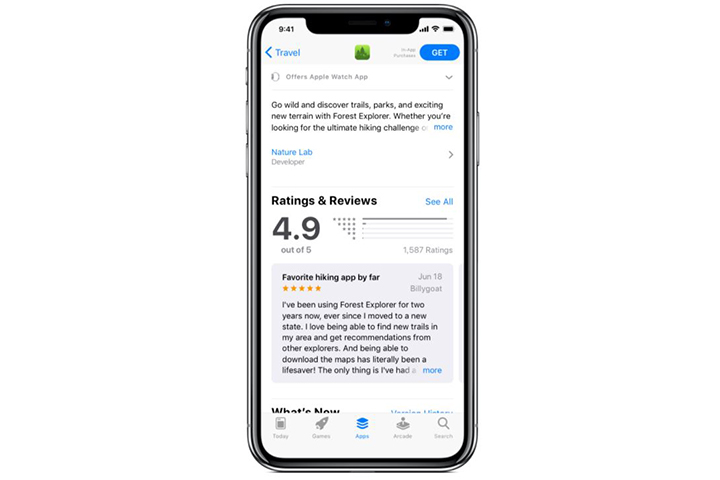 An app's reviews in the iOS App Store