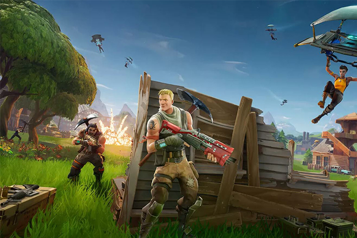 Characters on the battleground of Fortnite
