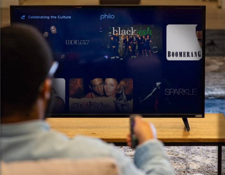 Man streaming Philo TV