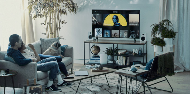 couple streaming AT&T TV Now in their home