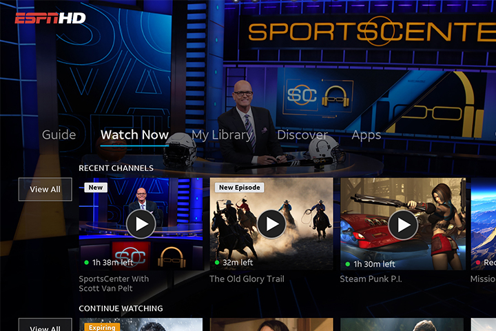 AT&T TV Now interface