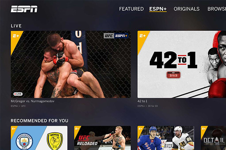 ESPN+ interface