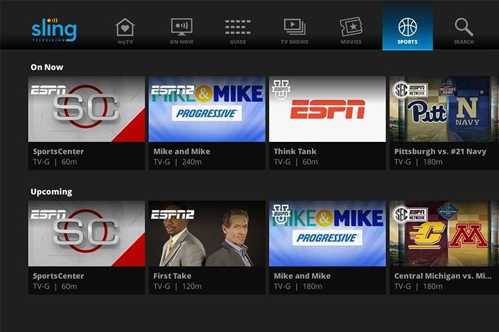 Sling TV interface