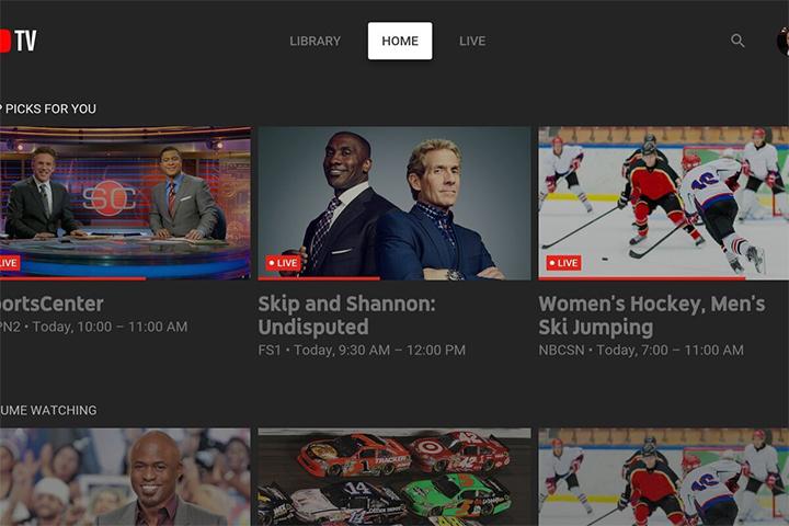 YouTube TV interface