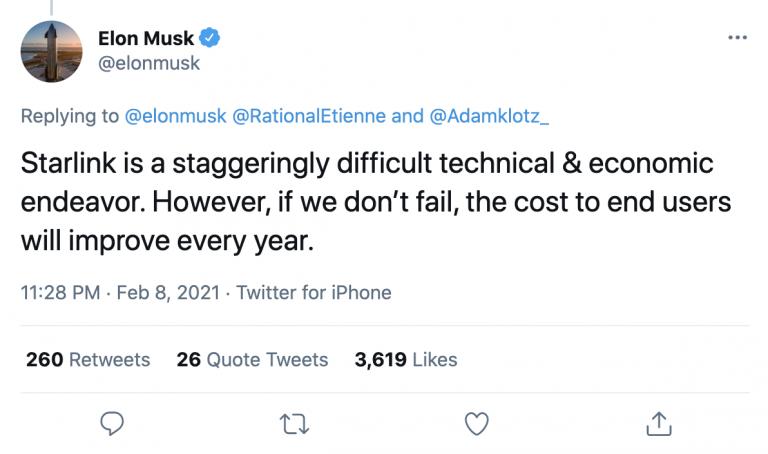 Elon Musk Tweet about Starlink