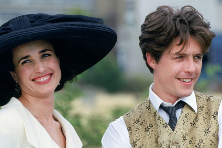 Andie MacDowell and Hugh Grant in Four Weddings and a Funeral